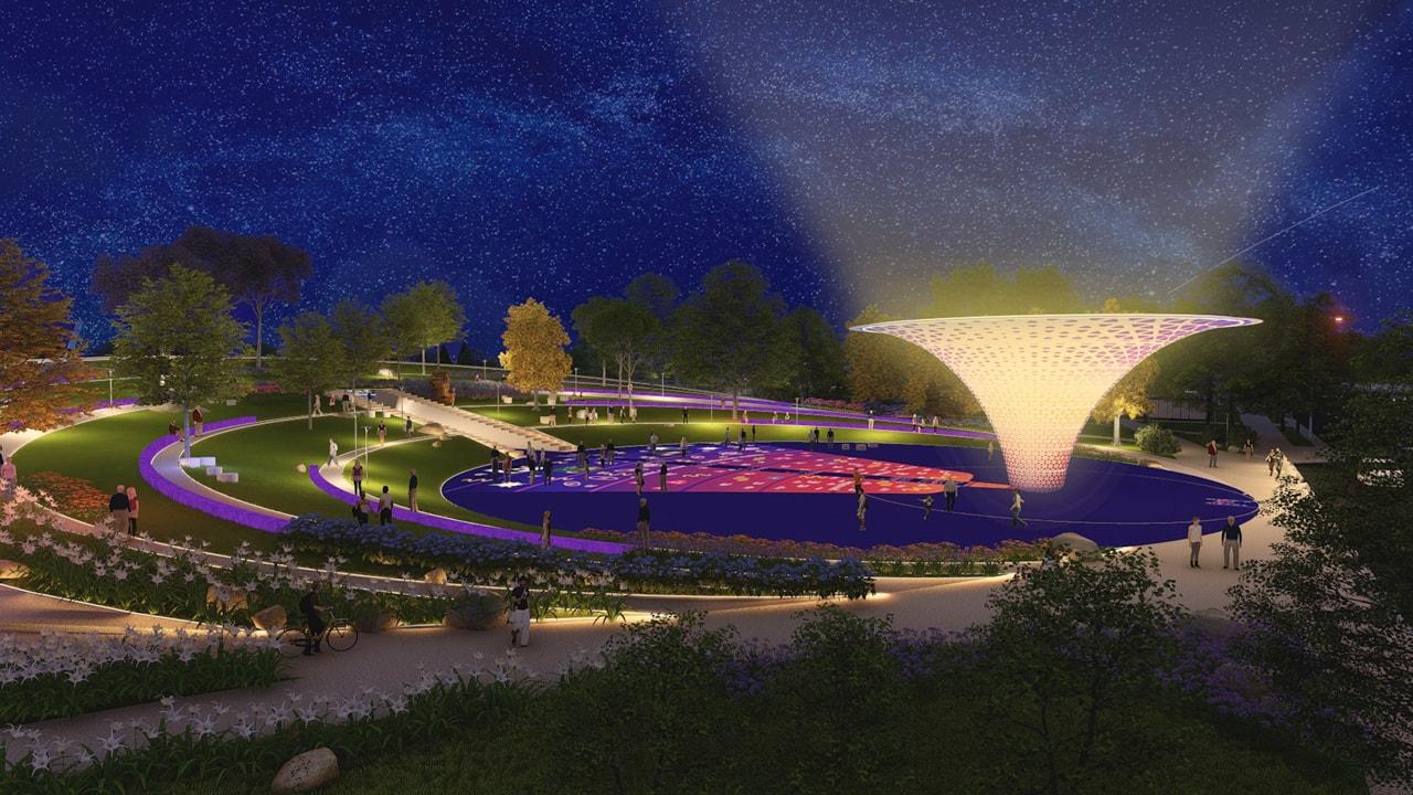thiết kế cảnh quan quảng trường big bang ban đêm