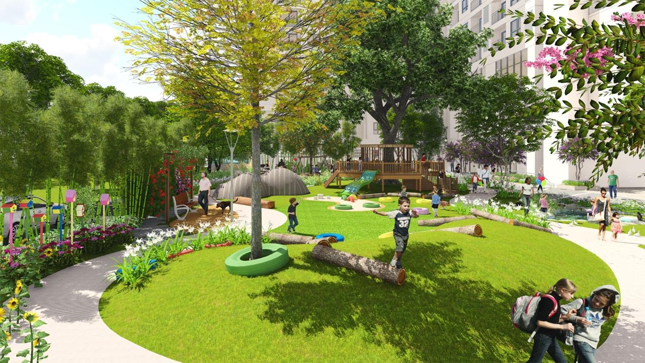 thiết kế cảnh quan anland hh01 đồi cỏ