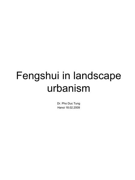 Fengshui in Landscape Urbanism / Phong thủy trong thiết kế cảnh quan đô thị