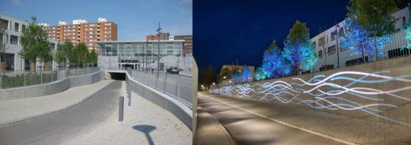 Thiết kế chiếu sáng cảnh quan ở Ishoj Station, Copenhagen, Denmark