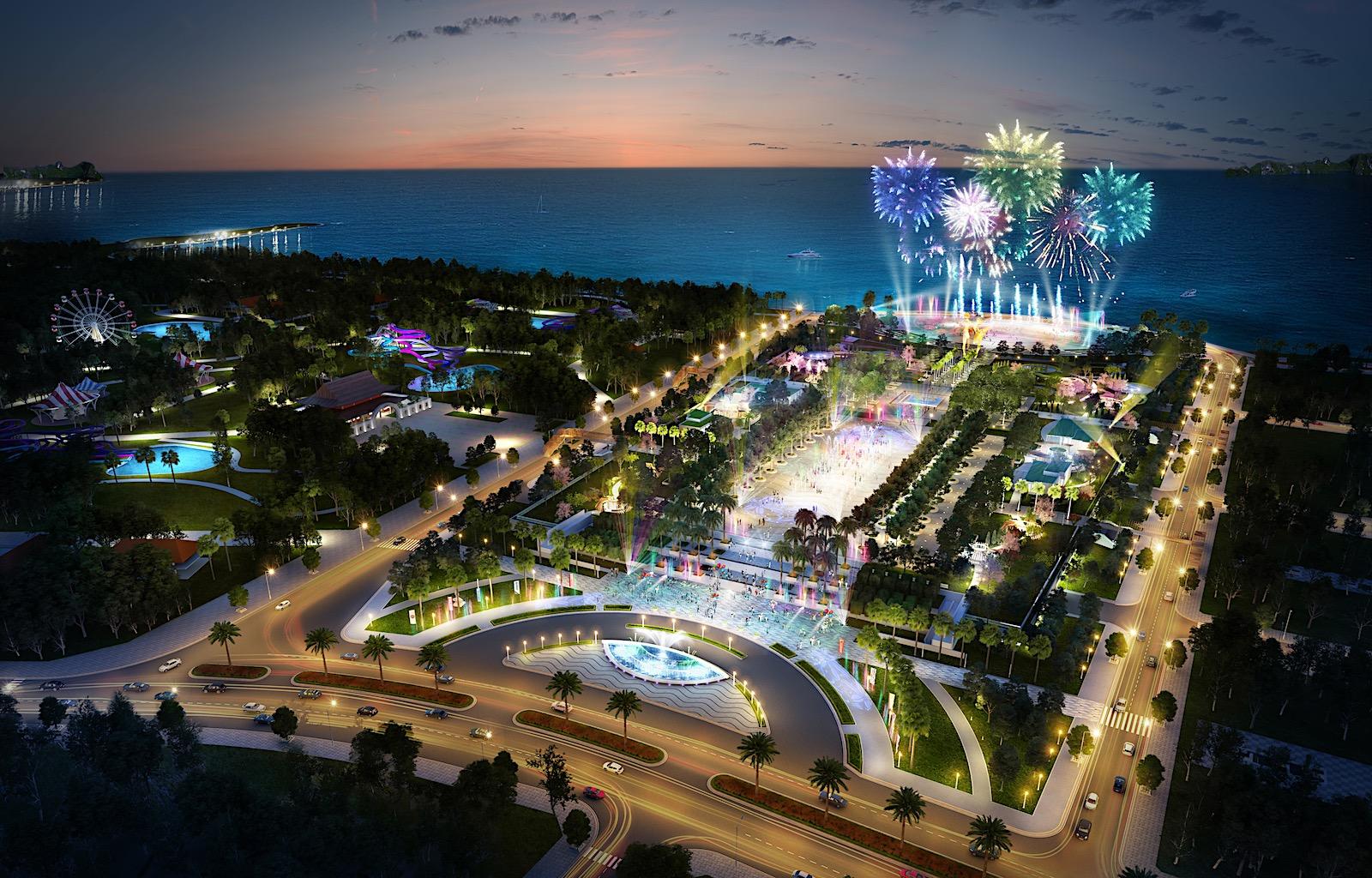 Tổng thể Sun Carnival Plaza Hạ Long nhìn từ trên cao - EGO thiết kế cảnh quan quảng trường công viên Sun Carnival Plaza Hạ Long