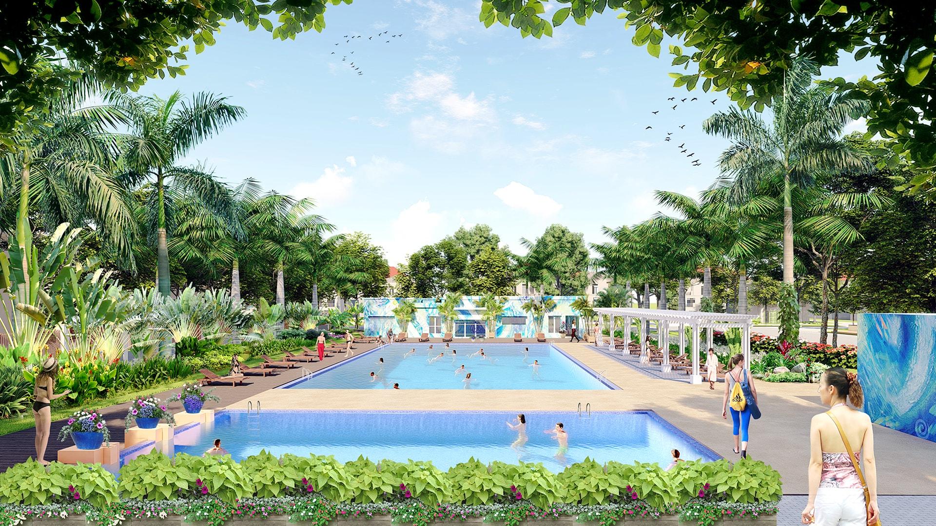 thiết kế cảnh quan bể bơi splendora
