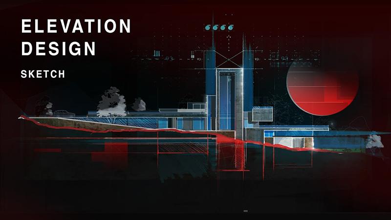 Elevation Design Sketch / Diễn họa mặt đứng kiến trúc